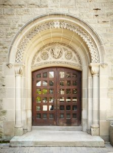 University College door with windows